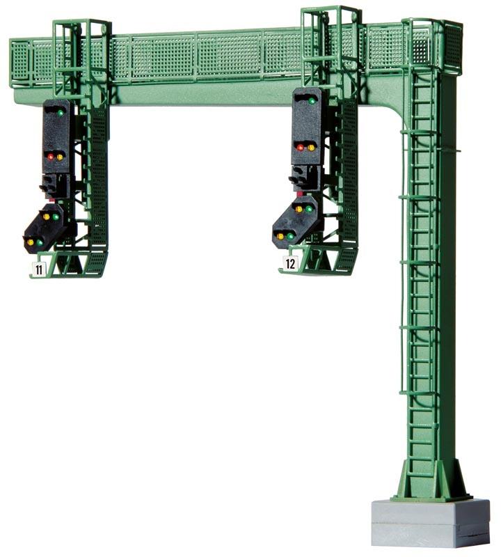 Signalbrücke mit 2 Einfahrsignalen,Multiplex-Technologie, H0