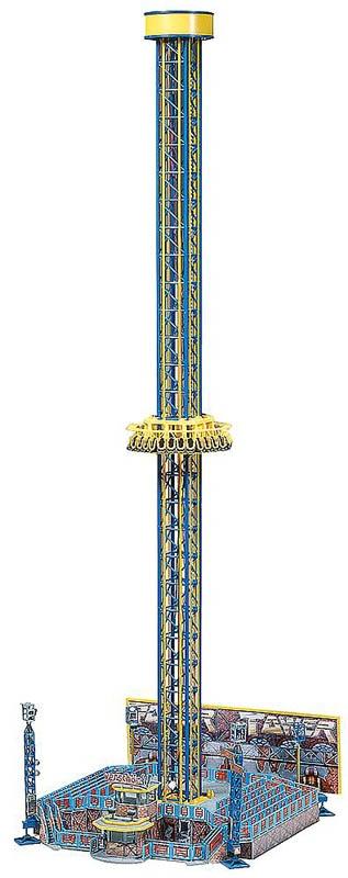 Kirmes Fahrgeschäft Freifall-Turm (Power Tower) Bausatz H0