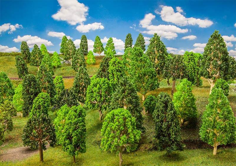 50 Laubbäume, sortiert H0, TT