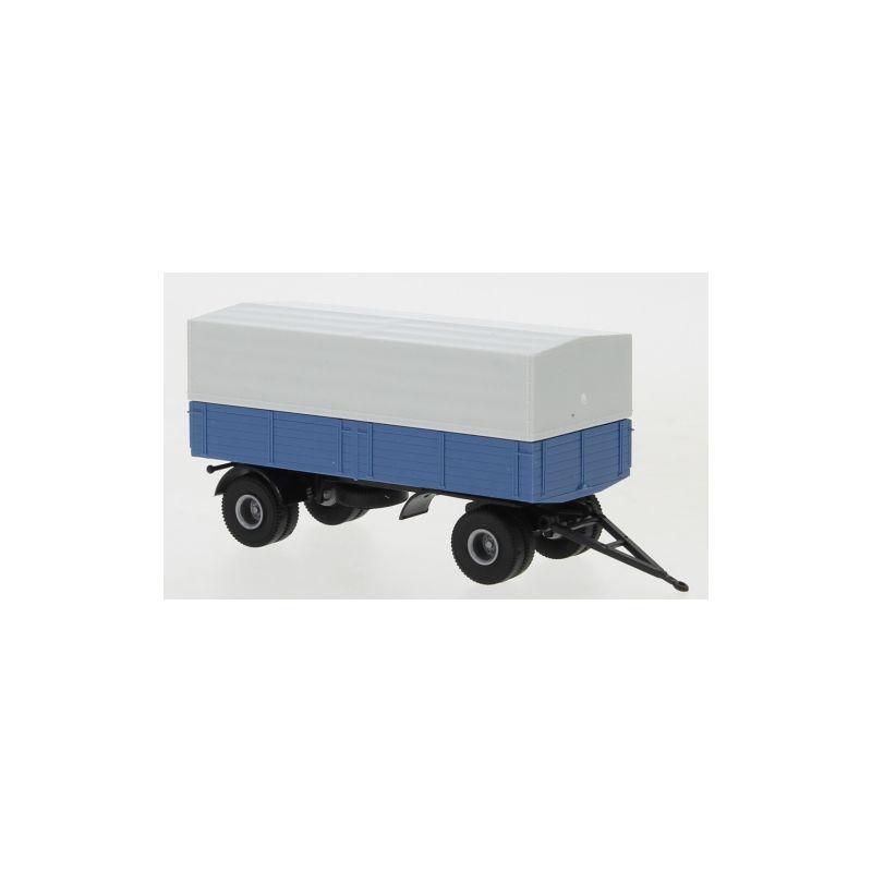 Anhänger 2-achs. Pritsche/Plane, blau/schwarz, 1:87 / H0