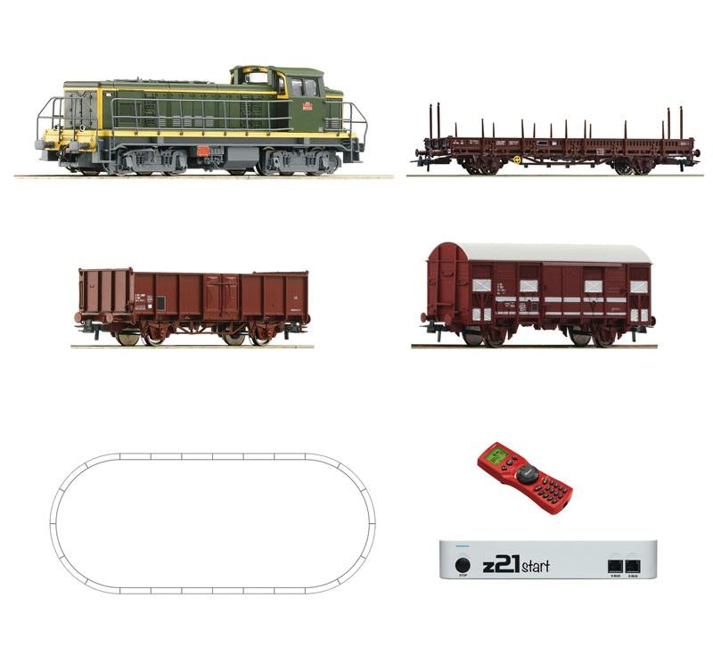 Digital-Set z21start: Diesellok BB63000 mit Güterzug SNCF H0