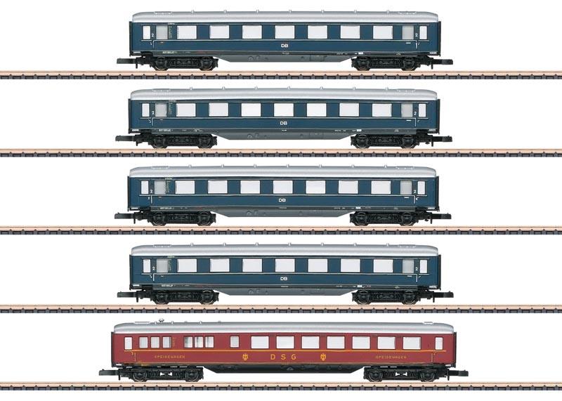 Schnellzug-Schürzenwagen-Set der DB, Spur Z