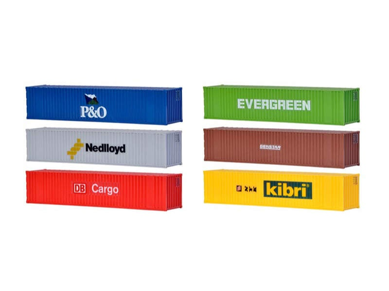 40-Fuss-Container, Bausatz, 6 Stück, Spur H0