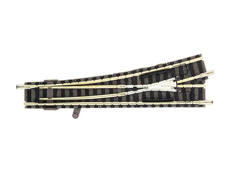 Weiche links 111 mm, 15° Handbetrieb N-Gleis mit Bettung