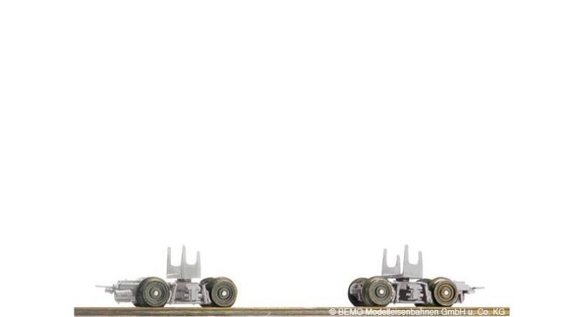 GFM Rollböcke 2 Fertigmodelle grau, Spur H0e