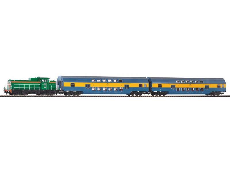 Startset Lok PKP + zwei Doppelstockwagen PKP, Spur H0