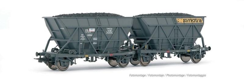 2-tlg. Set Schwenkdachwagen EF60 SIMOTRA, SNCF, DC, H0
