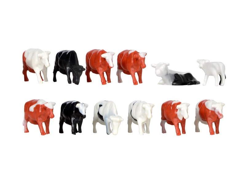 Deko-Set Kühe, 12 Stück,Bausatz, Spur H0