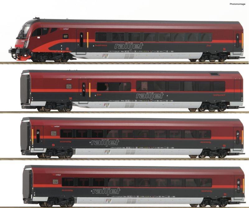 4-tlg. Set Personenwagen Railjet der ÖBB, DCC, AC, Spur H0