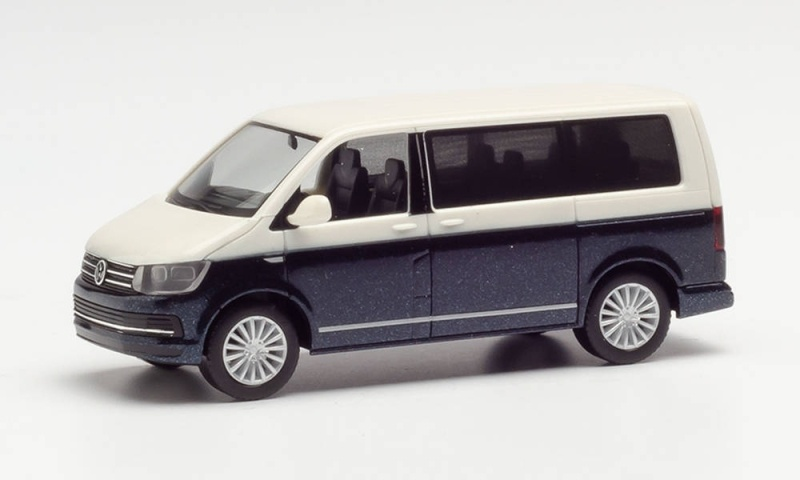 VW T6 Bicolor, weiß/starlight Blue Metallic, 1:87 / Spur H0