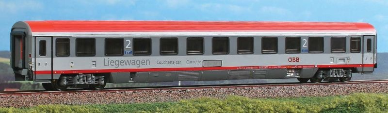 Liegewagen Typ Bcmz der ÖBB, rot/grau, Epoche V-VI, Spur H0