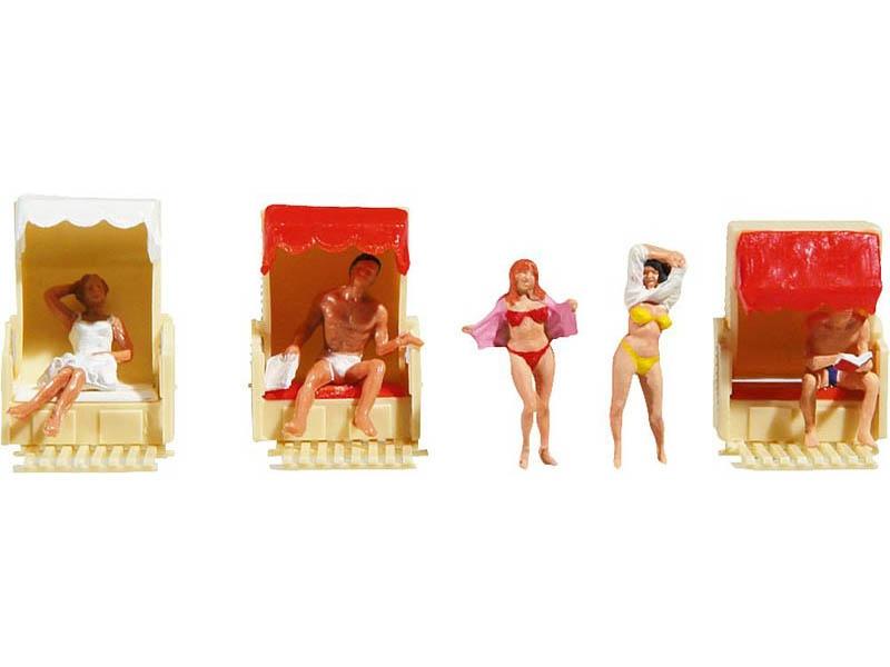 Im Strandkorb 5 Figuren H0