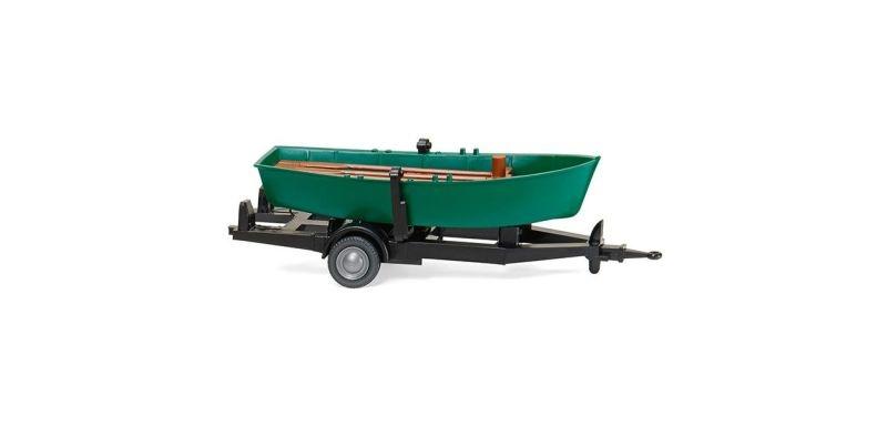 Ruderboot auf Anhänger - türkisgrün 1:87 / H0