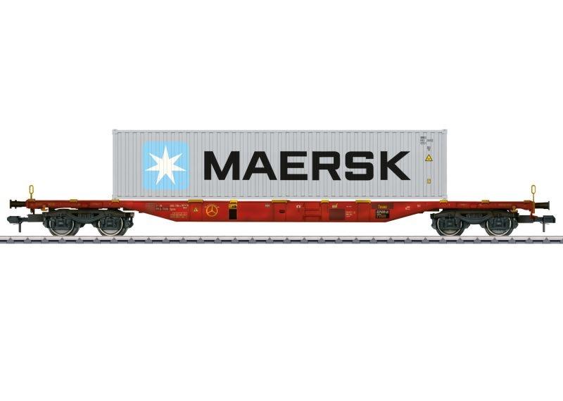 Container-Tragwagen Bauart Sgnss, mit Container, Spur 1