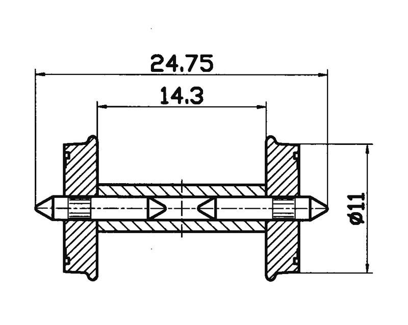 RP-25-Radsatz DC geteilte Achse 11mm H0