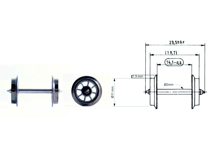 Speichen-Tauschradsatz 23,5 mm H0