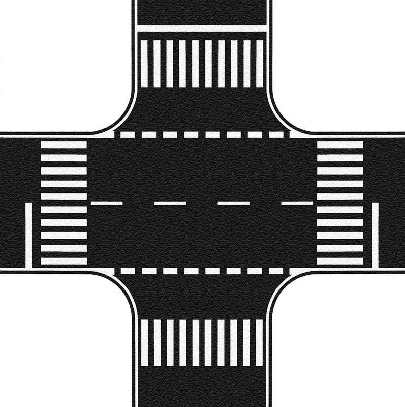 Kreuzung, Asphalt, 22 x 22 cm Spur H0