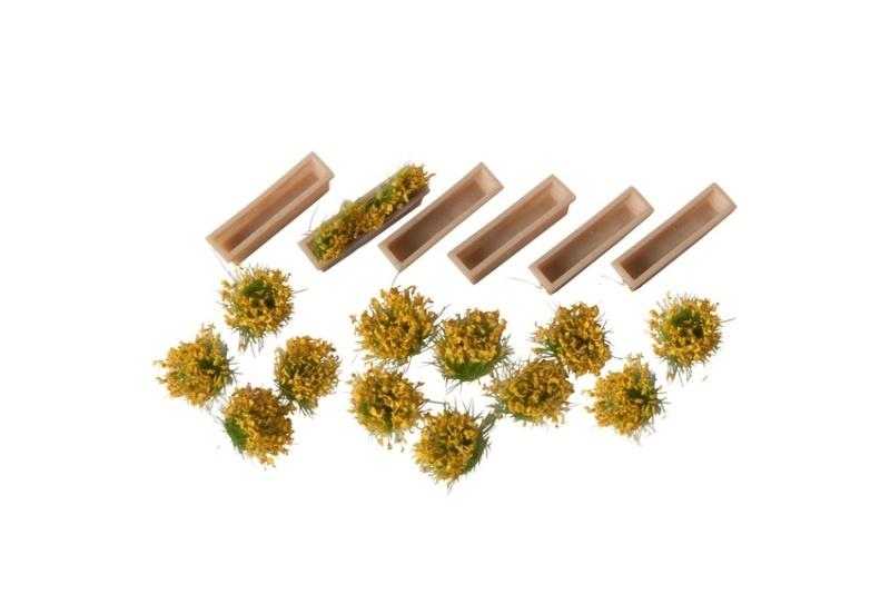Blumenkasten, 6 Stk. mit 12 Stk Blumen blühend