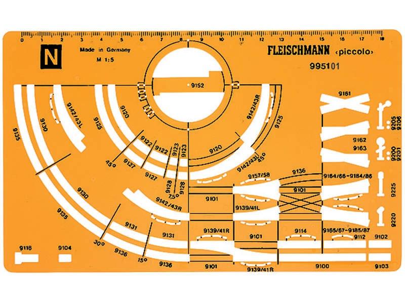 Gleisplanschablone für Fleischmann N-Gleis mit Bettung