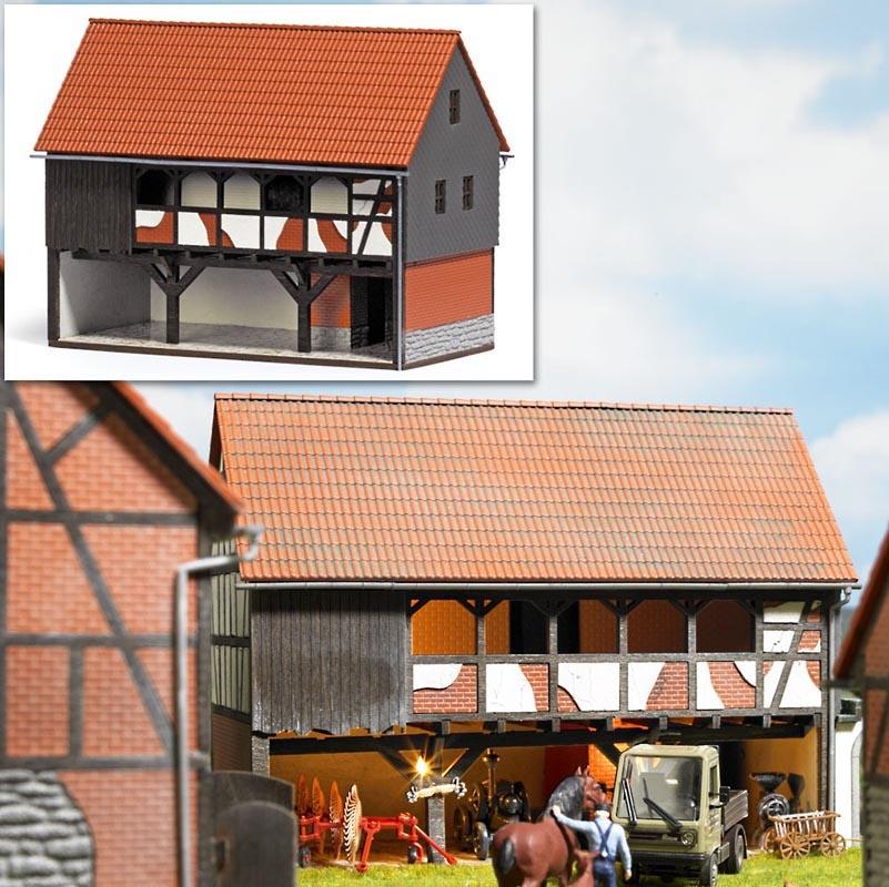 Bauernhof Unterstand (4-Seiten-Hof) Bausatz, Spur H0