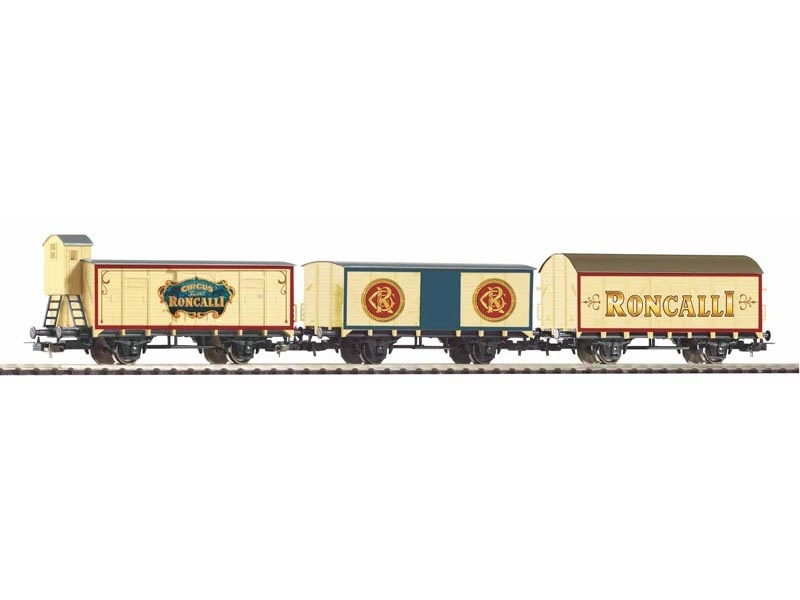 3er Set Güterzug Zirkus Roncalli, DB, Ep. III, DC, Spur H0