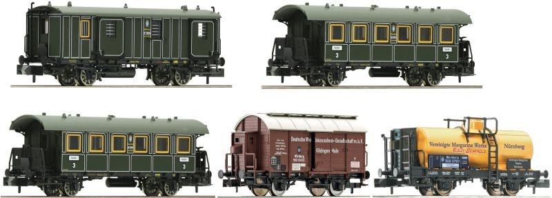 5-tlg. Wagenset Güterzug mit Personenbeförderung, DC, Spur N