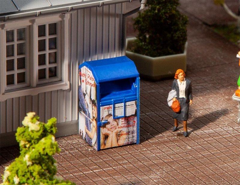 Altkleidercontainer, blau, Bausatz, Spur H0