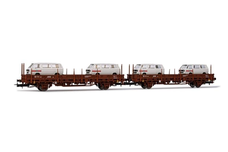 2-tlg. Set 2-achsiger Flachwagen Kls, DB, 4x VW T2, DC, H0