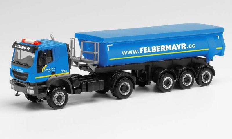 Iveco Trakker 4x4 Kippsattelzug Felbermayr, 1:87 / Spur H0