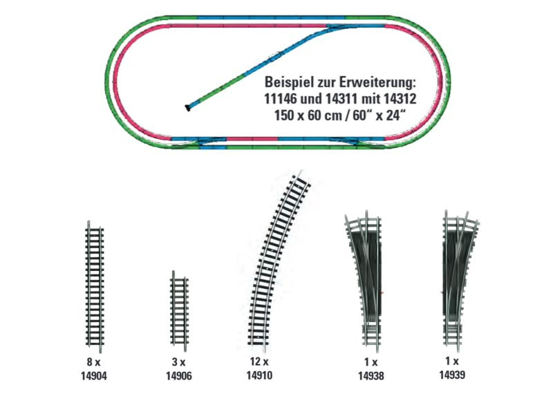 Gleis-Ergänzungs-Set H2, Minitrix Spur N