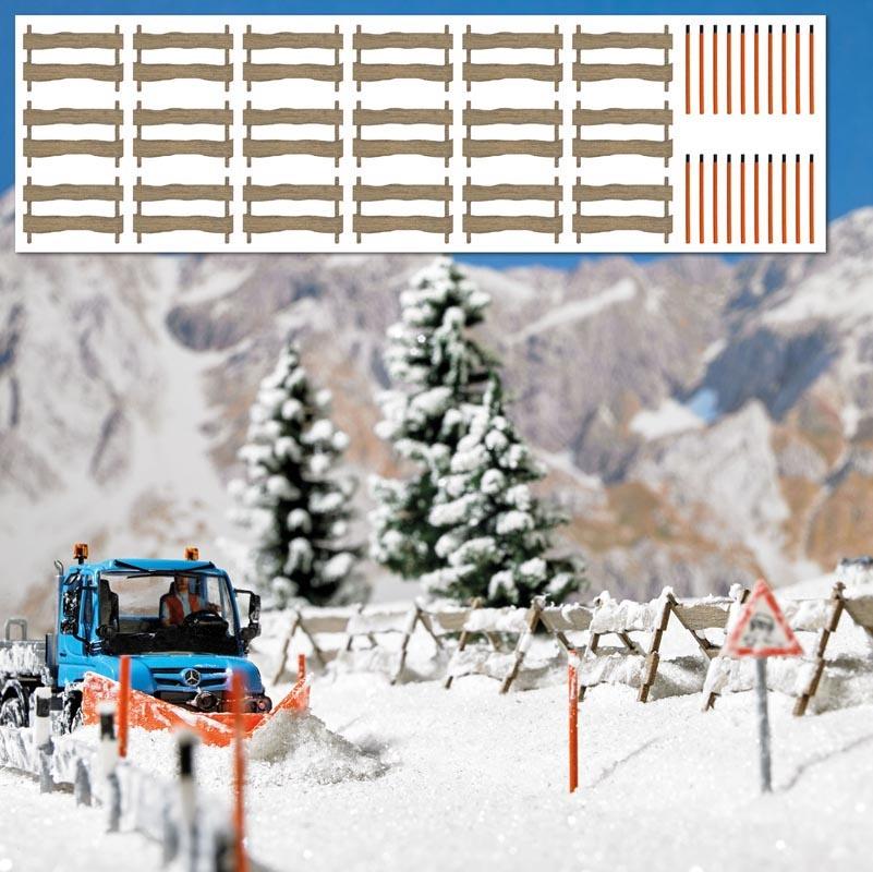 Schneefangzäune und Schneestangen, Spur H0