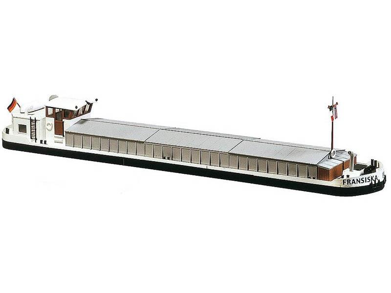 Flussfrachtschiff mit Wohnkajüte Bausatz H0