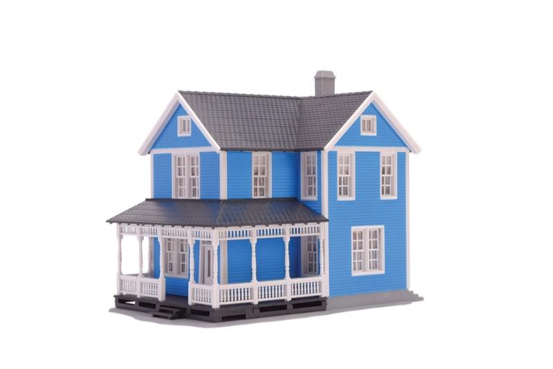 Schwedenhaus, blau, Bausatz, Spur H0