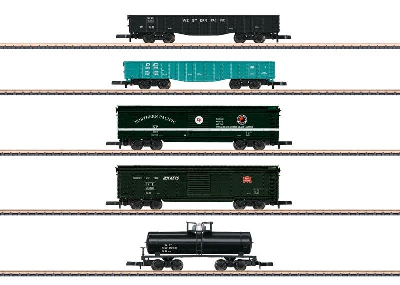 US Güterwagen-Set mit 5 Wagen, Spur Z