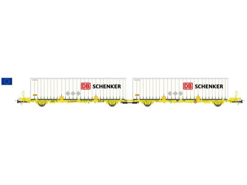 Containerwagen Laagrss Transfesa gelb DB Schenker, Spur H0