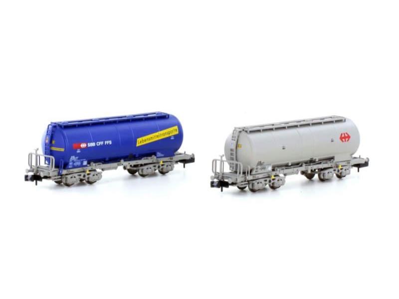2er-Set Uacs Silowagen SBB Cargo, blau+grau, Ep.V-VI, Spur N