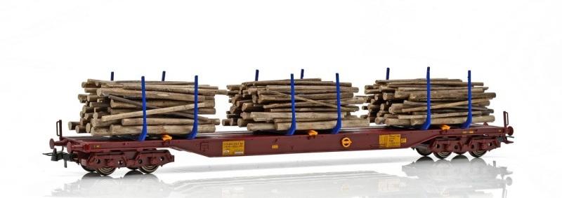 Topline THREE T Holztransportwagen Sgs,mit Holzladung,H0