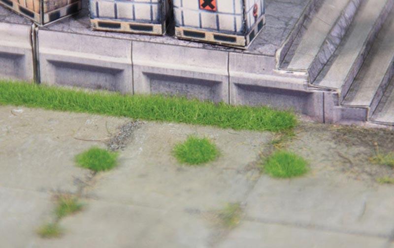 100 Grasbüschel + 6 Grasstreifen 2 mm, mittelgrün