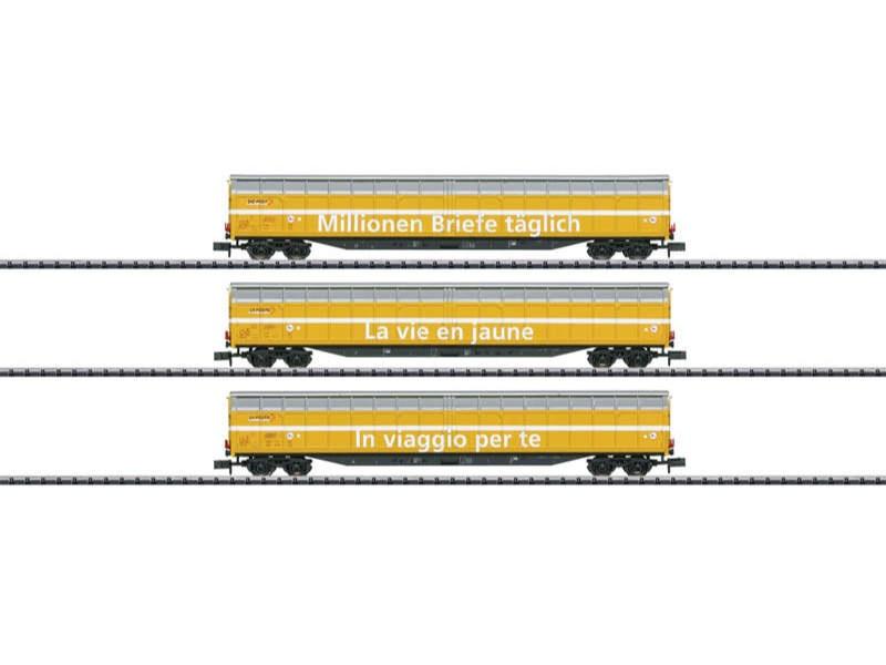 Großraum-Schiebewandwagen-Set der Post SBB Spur N