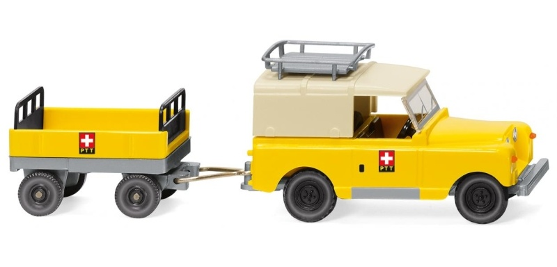 Land Rover mit Anhänger PTT, 1:87 / Spur H0