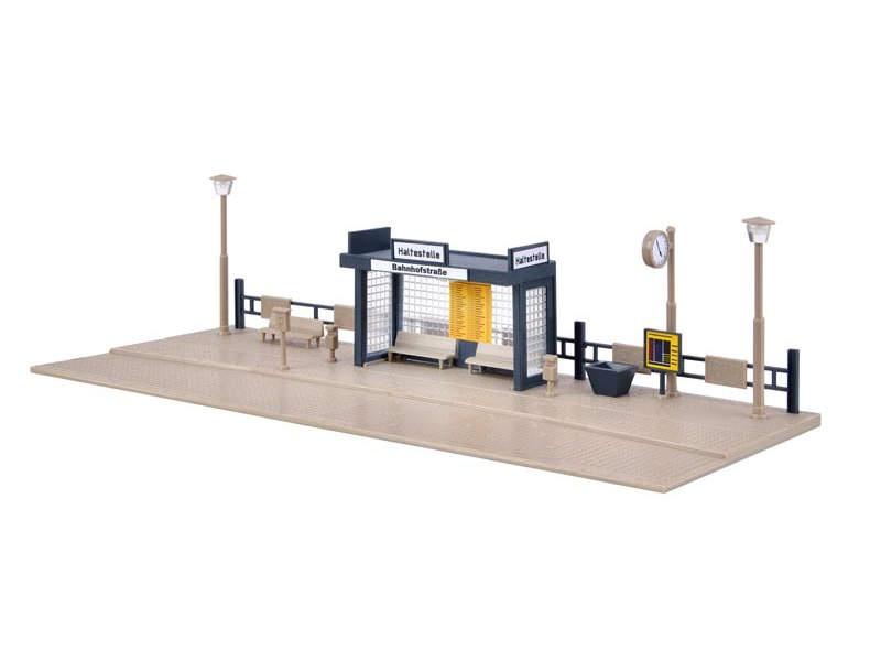 Bushaltestelle mit LED-Beleuchtung, Funktionsbausatz,Spur H0