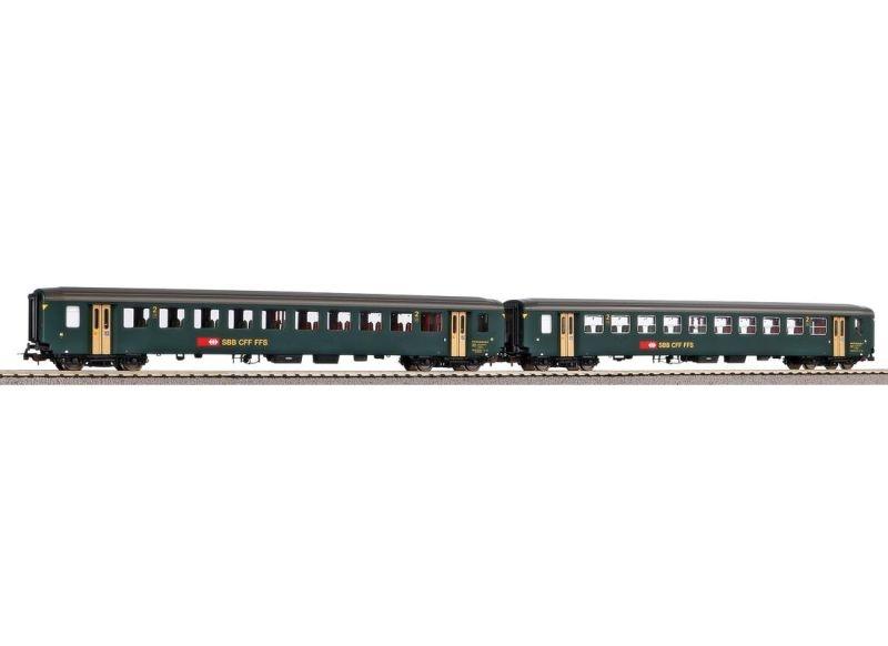2er Set Personenwagen EW I A+B grün der SBB, Ep. IV, DC, H0