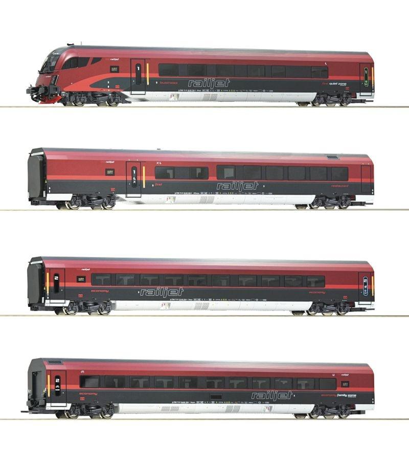 4-teiliges Wagenset Railjet der ÖBB, Beleuchtung, AC Spur H0