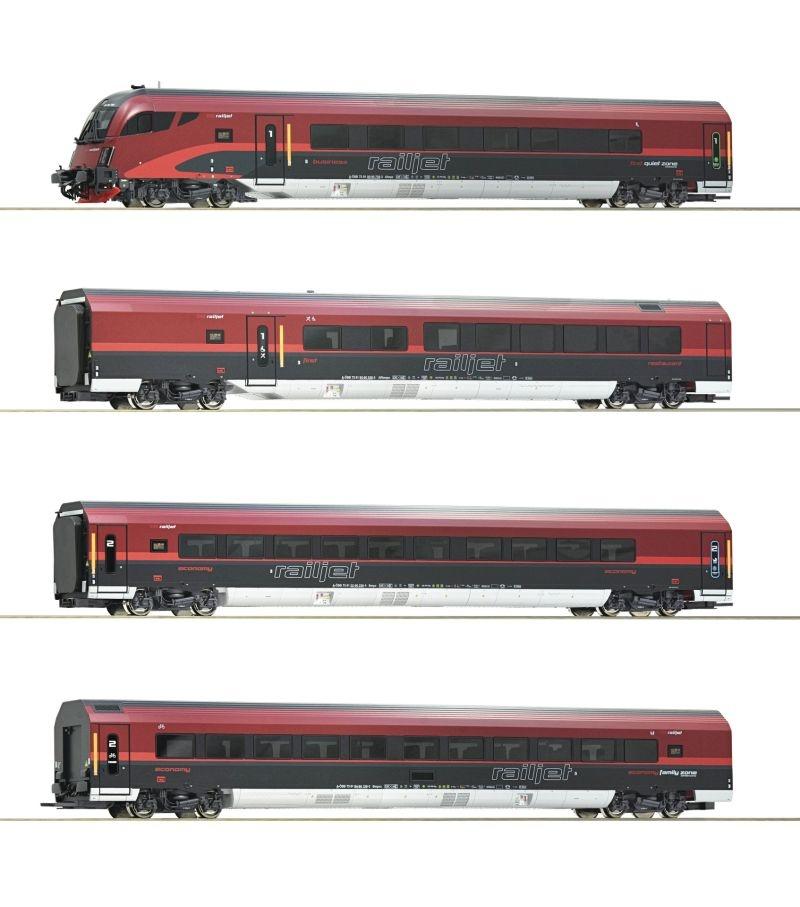 4-teiliges Wagenset Railjet der ÖBB, Beleuchtung, DC Spur H0
