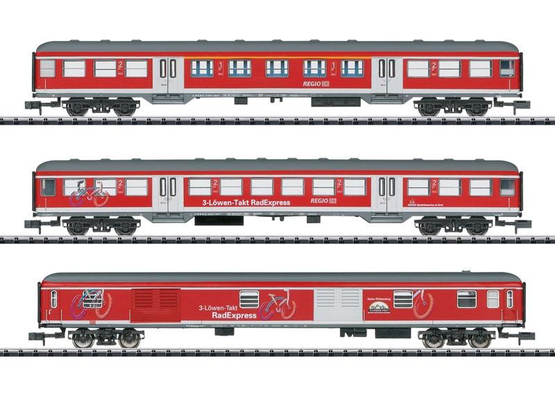 Personenwagen-Set Fahrradexpress, DB AG, Minitrix Spur N