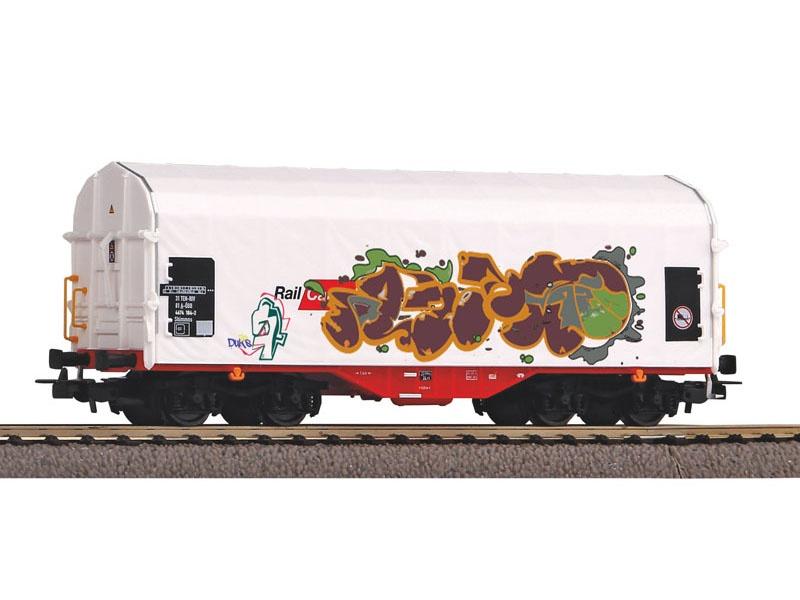 Schiebeplanenwagen Rail Cargo Austria mit Graffiti, DC, H0