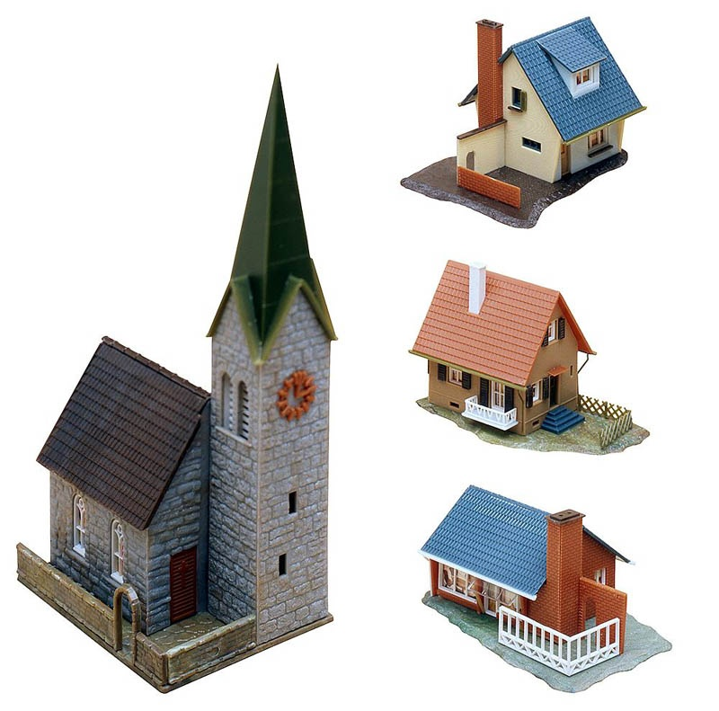 Dorfbausatz Kirche und 3 Wohnhäuser N