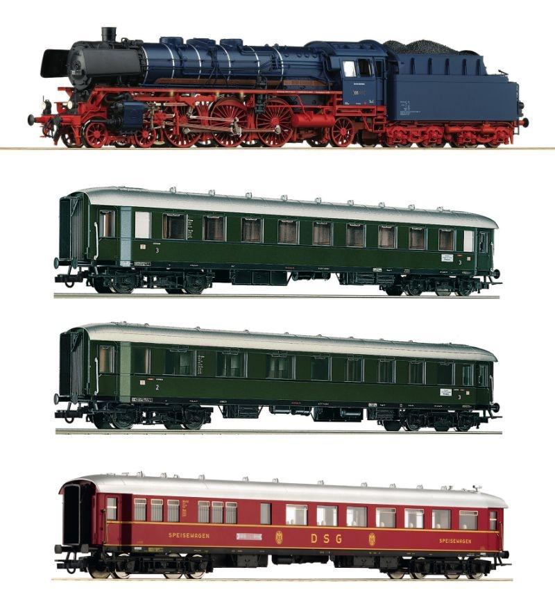 4-tlg. Set: Dampflokomotive BR 03.10 und Schnellzug, DB, H0