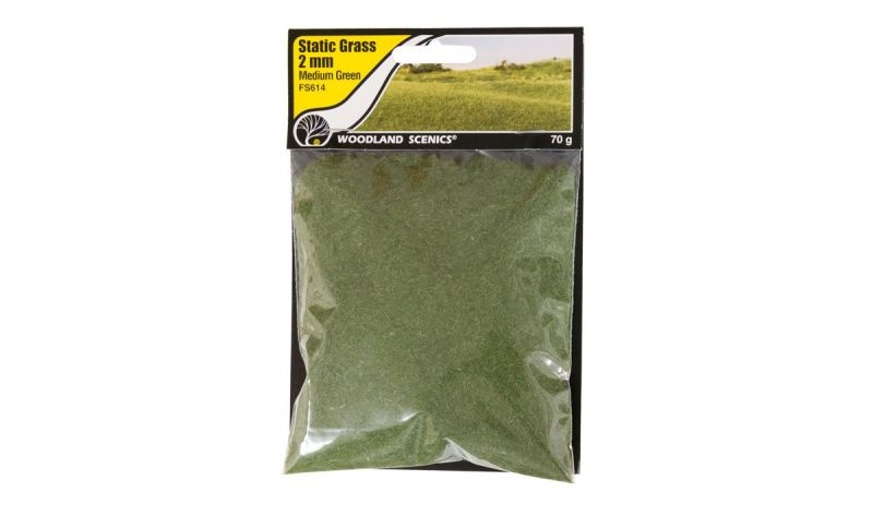2mm Static Grass Mittleres Grün, 70 g