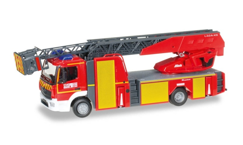 MB Atego 13 Drehleiter Feuerwehr Mulhouse, 1:87 / Spur H0